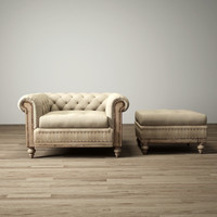 3d deconstructed-chesterfield-upholstered-chair
