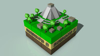 3ds isometric mayan cityscape