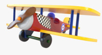 painted wood wooden airplane toy 3d max