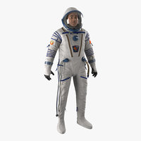 3d model of russian astronaut wearing space suit