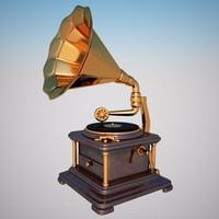 3d gramophone vintage model