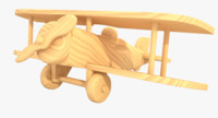 unfinished wooden airplane toy 3d max