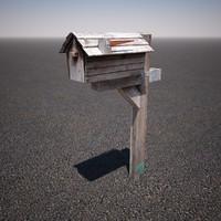 3d model wooden mailbox