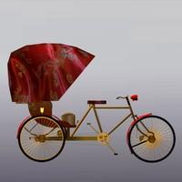 3d model of rickshaw