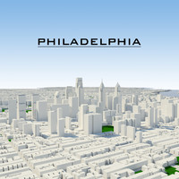 3d philadelphia cityscape model