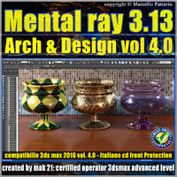 Mental ray 3.13 in 3dsmax 2016 Vol.4 Materiali Arch & Design cd front