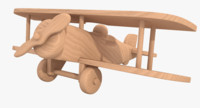 3d unfinished wooden airplane toy