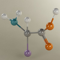 3d molecule alpha amino acid model