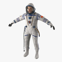 3d russian astronaut wearing space suit