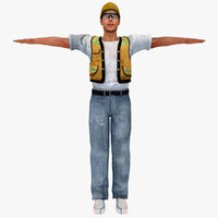 3ds max people human construction worker