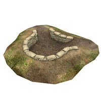 war mortar pit 3d model