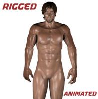 realistic rigged male body blender obj
