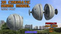 3d sci-fi drone animate model