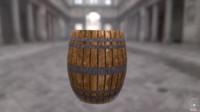 free wood barrel 3d model