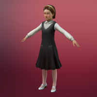 little girl 3d obj