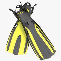 oceanic generic fins yellow 3ds