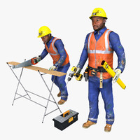 3d model of rigged worker