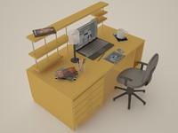 3d model computer desk office