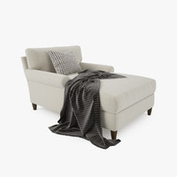 3d model crate barrel montclair chaise lounge