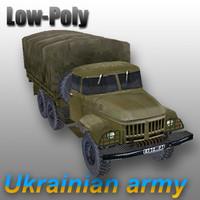 3d model military zil-131 truck zil