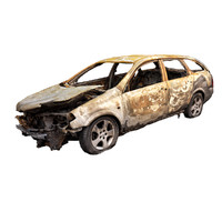 burned car wreck 3d model