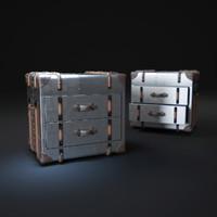 3d richards -trunk-2-drawer-cube-metal
