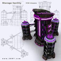 3d sci-fi - storage facility model