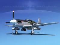 3d p-51b mustang p-51 north american model