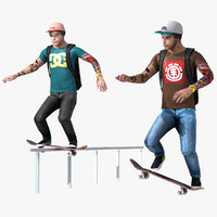 skater character rigged set 3d model