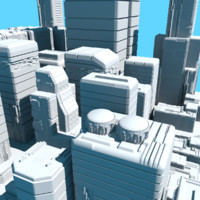 city background buildings 3d model