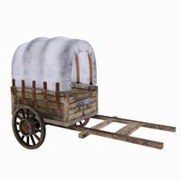 old wooden cart 3d obj