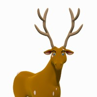 3d reindeer rigged model