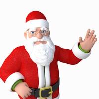 3d santa claus cartoon rigged character