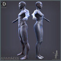 characters man woman adam 3d model