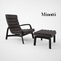 minotti saville armchair stool 3d max