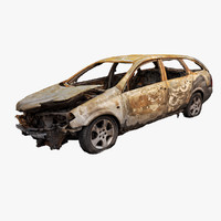 burned car wreck obj