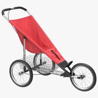c4d jogging stroller red