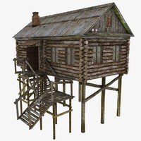 stilts house 3d model