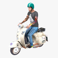 3d model vespa rider rigged