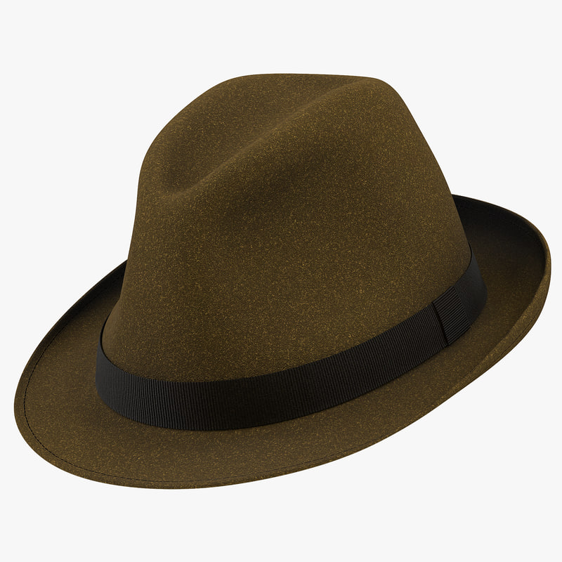 3d model of Fedora Hat Brown 01.jpg