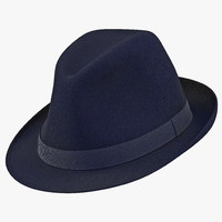 3d fedora hat blue model