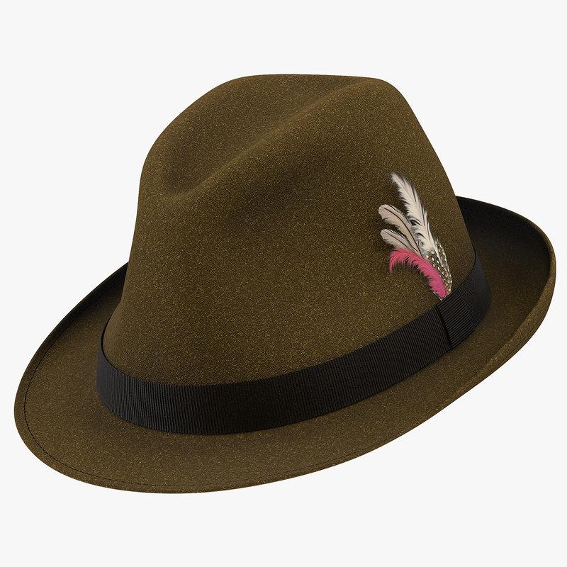 3d model of Fedora Hat Brown 01.jpg