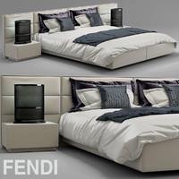 3d model bed fendi casa