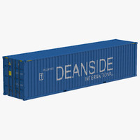 40 ft container blue 3d obj