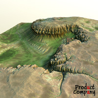 3d hills cliffs terrain model