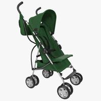 3d model baby stroller green