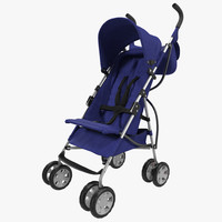 baby stroller blue 3d model