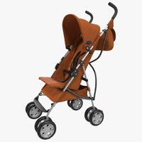 baby stroller orange 3d model
