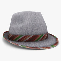 3d obj fedora hat gray