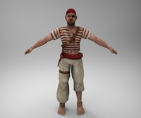 3d pirate rigged model